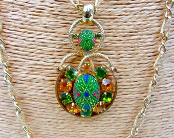 Topaz Green Rhinestone Moroccan Pendant Necklace, Double Chain, Gold Tone, Vintage
