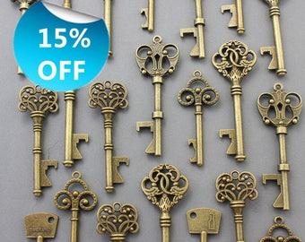 50Pcs Antiqued Brass Skeleton Keys bottle openers Mix Ship From United States