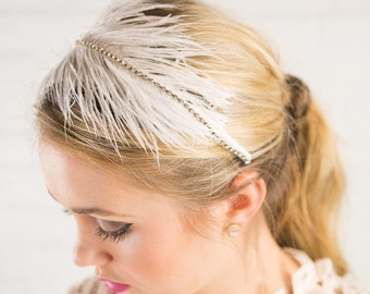 Bridal Ostrich Feather headband with Rhinestone