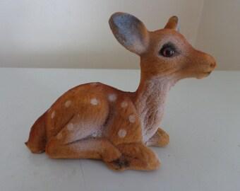 Vintage Brown Flocked Fawn Christmas Deer, 1960's - Brown Flocked Deer - Vintage Christmas Decorations - Vintage Reindeer - Woodland Decor