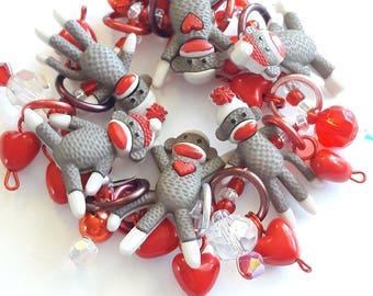 Sock monkey bracelet/Beadiebracelet