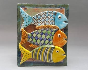 3 Fish on a tile, Unknown studio pottery
