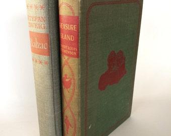 Vintage Books Antique Books (2) Book Bundle Robert Louis Stevenson Treasure Island & Balzac By Steven Zweig Retro Mid-century Home Decor