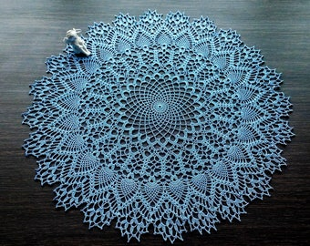 Blue Round Pineapple Crochet Doily With Edging