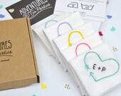 Heart Arrow Personalised Handkerchief | White Handkerchiefs | Initial Handkerchief| Personalized | Wedding Hanky | Cotton Hankies
