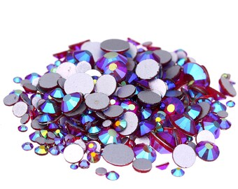 AB Dark Red --  5000 pcs Assorted 8 Sizes Crystal Glass Rhinestones Flatback High Quality no hotfix  Wholesale Pack Lot
