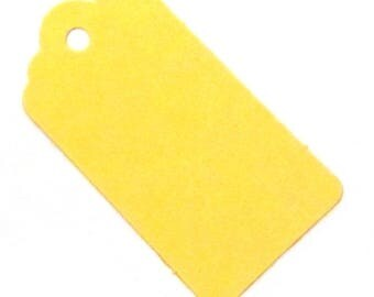 20 Bright Yellow Medium Gift Tags  - 67mm x 35mm (100% Recycled Card)