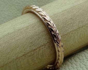 Thin 2 mm Wide Wheat Pattern Hand Engraved Milgrain Wedding Band 14k White, Yellow, Rose, Pink Gold Vintage / Antique Style Ring