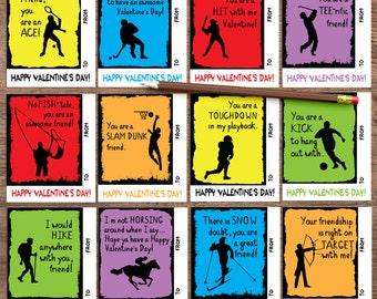 Sports Valentines, Kids Valentine cards for school. Instant download printable. PDF. Children's Valentine's Day cards. DIY Valentine cards