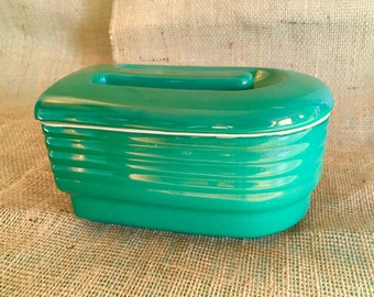 Vintage green Hall China refrigerator jar, container made for Westinghouse