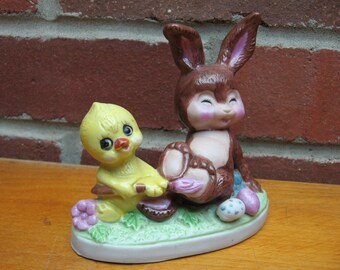 rabbit chick easter egg figurine porcelian ceramic figure vintage