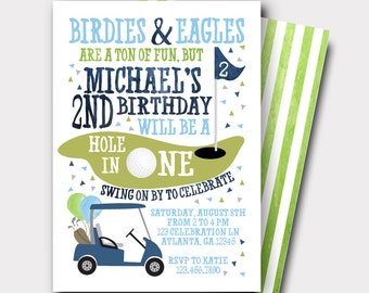 Golf Birthday Invitation | Hole In One Invitation | Golf Invitation | First Birthday Invitation | Boys Birthday Invitation