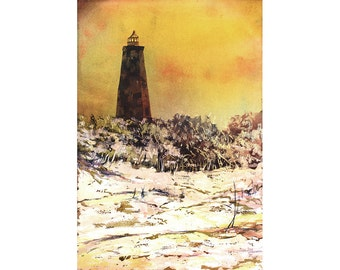 Watercolor painting of Old Baldy Lighthouse on Bald Head Island- North Carolina.  Lighthouse painting.  Watercolor lighthouse fine art print