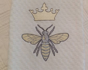 Queen Bee Machine Embroidered Cotton Waffle Weave Bar/Kitchen/Dish Towel