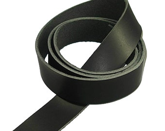 """Genuine Vegetable Tanned Leather Strip Belt Blank Black 1-1/2"""" Tooling and Stamping"""