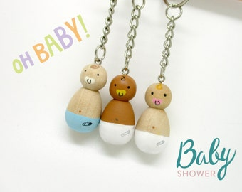 Baby Shower, Gender Reveal, Baby Peg doll, Peg doll, Key fob, Key chain, Pregnancy announcement, New Parents
