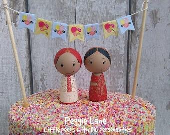 Indian Wedding Cake Toppers, Asian Wedding, Cake Toppers, Ethnic Wedding, Personalised Sikh Hindu Pakistani Muslim Bride & Groom,Peggie Lane