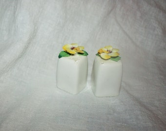 Vintage Pair Porcelain White Salt and Pepper Shakers with High Relief Flowers on Top