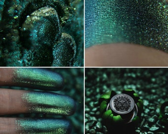 Eyeshadow: Soul Collector - Undead.  Deep turquoise-emerald shimmer eyeshadow by SIGIL inspired.
