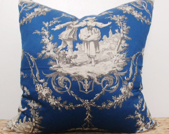 "18"" navy blue toile pillow cover - COVER ONLY"