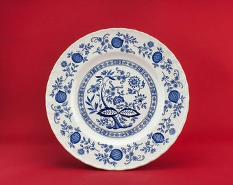 5 Blue And White Vintage Pottery Gift DINNER PLATES Enoch Wedgwood Dining Luxurious English Late 20th Century LS