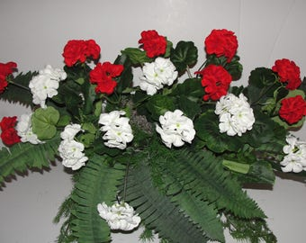 """Red White Geraniums Fern Greens Silk Window Box Arrangements for your 18"""" - 24"""" Window Box Custom Sizes available just message for prices"""