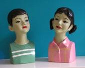 Set of 2 vintage Mannequin Heads  vintage Children Hat Stand Shop Display 1970s