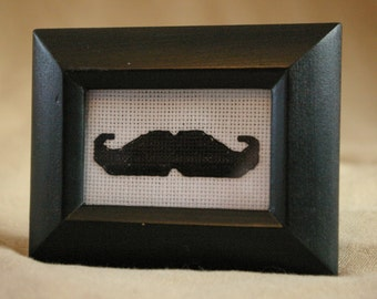 Tiny Mustache Cross Stitch// Finished cross-stitch//Framed Mustache Cross-Stitch