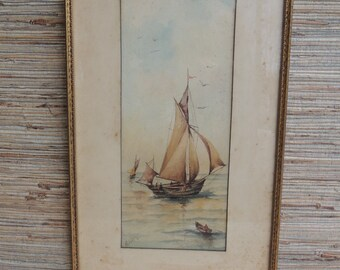 Vintage Sailboat Watercolor Painting by M Hays Framed Painting