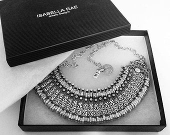 Silver Isabella Rae Link Cleopatra Tribal Statement Necklace