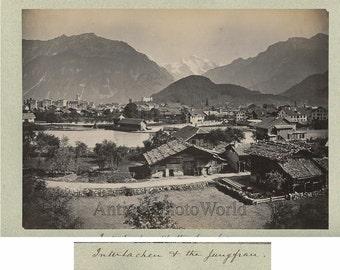 Interlachen and Jungfrau mountain antique albumen photo Switzerland