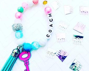 Tassel Bracelets, Girls Coach Tassel Bracelets, Children's Charm Bracelets, Tassel Jewelry, Kid's Charm Bracelets, Personalize Jewelry