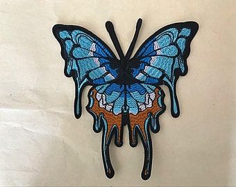 1 piece of beautiful large blue  butterfly applique sew on patch Approx. 21cm*20cm (great value)
