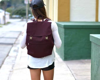 Canvas Backpack, Canvas Rucksack, Canvas Weekender Bag, Canvas Laptop Bag, Canvas Bag, Travel Bag, Waxed Canvas Bag, Burgundy