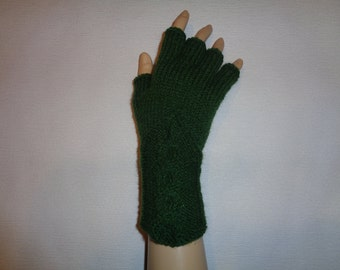 Hand-knitted green color gloves with half fingers, Gloves & Mittens, Gift Ideas, Green gloves, Christmas gift, Arm warmers