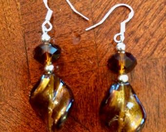 Brown Lampwork Twist Bead Earrings