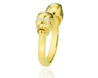 Double Full Skull Diamond Ring Skulls Rock Right Hand