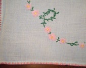 Linen Table Runner, Dresser Scarf, Embroidered Pink Flower Chains With Blanket Stitch Edge