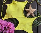 Arpa Bikineria Yellow Full Monokini One Piece Brazilian Bikini Swimsuit Swimwear Bodysuit