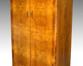 16974 Antique Deco Burl Walnut Wardrobe