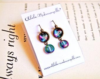 Handmade galaxy cabochon earrings, sci-fi earrings, galaxy earrings, cosmic earrings, space earrings