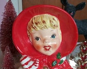 Vintage Relpo Japanware Christmas lady head planter