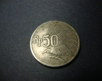 SALE - 1971 Indonesia 50 Rupiah - Fifty Rupiah - Bird of Paradise - Nice Design - Vintage World Coin - .65 Cent Ship, 1.25 Int'l Ship