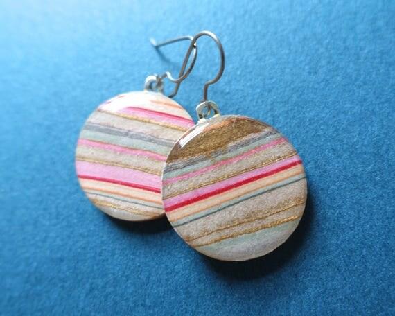 Pink Marbled Earrings, Circle Earrings, Dangle Earrings, Lightweight Earrings, Surgical Steel, Hypoallergenic, Paper Earrings, Decoupage