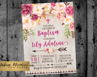 Boho Floral Baptism Invitation. Flower Baptism Invitation, Bohemian, arrow, Aztec,  Christening, Dedication ,First Communion. Girl Baptism