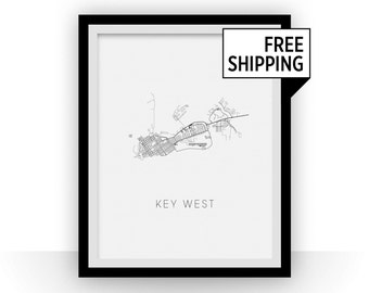 Key West Map Black and White Print - florida Black and White Map Print