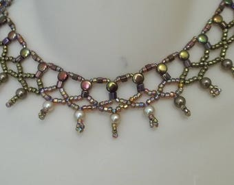 Bib necklace - bronze beads