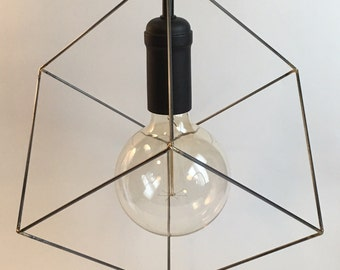 Reserved for Nathan: 5 Cube pendant lights, industrial square light, black socket, black fabric cord, black ceiling canopy.