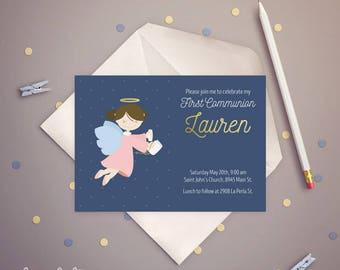FIRST COMMUNION Invitation Angel Girl. PRINTABLE.