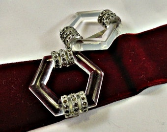 Czech Glass Buckle Slider, Art Deco Glass Buckle, Polygon Deco Rhinestone Jewelry 1920's